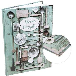 XXL Rezeptbuch mit leeren Seiten - eigenes Kochbuch - grün silber Shabby Chic Hardcover DIN A4 mit Metallecken
