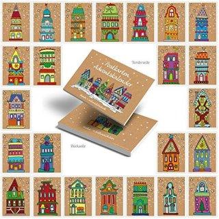 24 Weihnachtspostkarten - 10,5 x 14,8 cm - bunt braun rot blau grün natur
