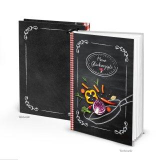 DIY Rezeptbuch DIN A5 MEINE GLÜCKSREZEPTE - leeres Kochbuch zum Selberschreiben schwarz rot