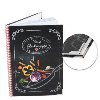 DIY Rezeptbuch DIN A5 MEINE GLÜCKSREZEPTE - leeres Kochbuch zum Selberschreiben mit Metallecken