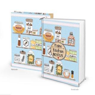 DIY Rezeptbuch MEINE KÜCHENSCHÄTZE DIN A5 hellblau mit Gewürzen - leeres Kochbuch - Geschenk Küche