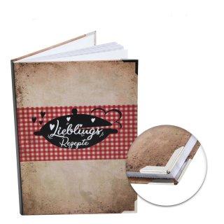 Vintage Rezeptbuch DIN A5 zum Selberschreiben LIEBLINGSREZEPTE - DIY Kochbuch Blanko mit Metallecken