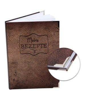 Rezeptbuch DIN A5 MEINE REZEPTE braun in Lederoptik - Vintage Kochbuch Blankobuch mit Metallecken