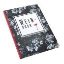 Weinbuch schwarz weiß zum Eintragen DIN A5 mit Metallecken - Geschenk für Weintrinker Weinprobe