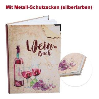 Weinbuch rot beige DIN A5 mit Metallecken  - Notizbuch als Geschenk für Weinliebhaber - Begleitbuch zur Weinprobe
