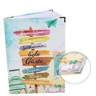 Gästebuch mit leeren Seiten DIN A4 Hardcover mit Metallecken für Gäste - Ferienwohnung Ferienhaus Urlaub
