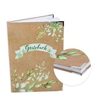 Gästebuch in Kraftpapieroptik mit Blätterranken DIN A4 grün braun mit leeren Seiten & Metallecken