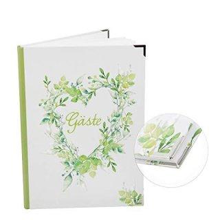 Hochzeitsgästebuch grün weiß DIN A4 -  Gästebuch zur Hochzeit Herz groß Blätter - mit Metallecken