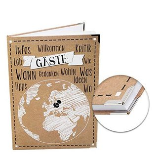 Gästebuch leer blanko DIN A4 Hardcover mit Weltkugel Motiv braun schwarz weiß