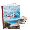 Gästebuch DIN A4 blau weiß maritim für Ferienwohnung Ostsee Nordsee mit Metallecken