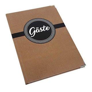 Dezentes Gästebuch braun schwarz weiß A4 mit leeren Seiten zum Einschreiben