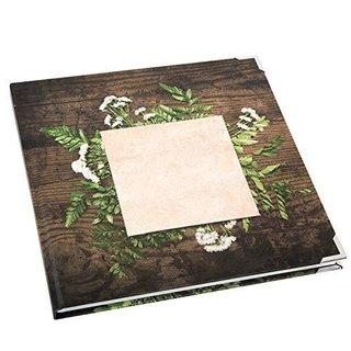 Gästebuch Notizbuch quadratisch 21 x 21 cm mit Cover zum Beschriften - leeres Buch mit Metallecken