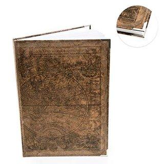 XXL Notizbuch ALTE WELT dunkelbraun DIN A4 Globus - leeres Buch im Vintage-Stil mit Metallecken