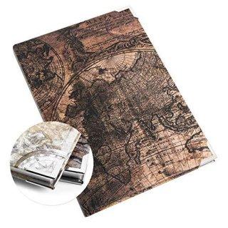 Kleines Notizbuch Reisebuch vintage braun DIN A5 - Weltkugel - leeres Buch mit Metallecken