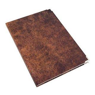 Großes XXL Notizbuch DIN A4 in Lederoptik braun - leeres Buch im Nostalgie-Look mit Metallecken