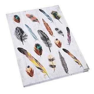 XXL Notizbuch DIN A4 mit Motiv BUNTE FEDERN - leeres Hardcover Buch mit Metallecken
