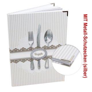 XXL Rezeptbuch zum Selberschreiben grau weiß Besteck DIN A4 - MEINE REZEPTE mit Metallecken