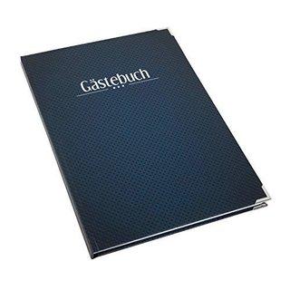 Gästbuch leer blanko DIN A4 dunkelblau mit Metallecken - Buch zum Eintragen für Gäste