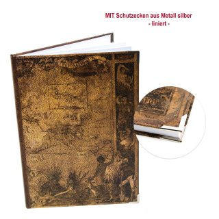 Großes Notizbuch liniert DIN A4 braun im Vintage Nostalgie Look - Hardcover mit Metallecken