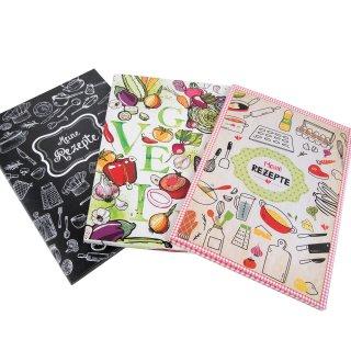 Rezeptmappen SET 3 Mappen Ordner zum Einheften von Rezepten DIN A4 - Kochrezepte + Backrezepte + Vegetarisch