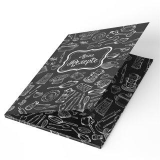 Rezeptmappe schwarz weiß Tafelkreide-Look - MEINE REZEPTE - DIN A4 zum Sammeln für Kochrezepte Backrezepte