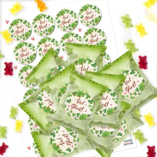24 Gummibärchen Tüten + Aufkleber VIEL GLÜCK - kleines Geschenk Give-Away - Prüfung Silvester Neujahr