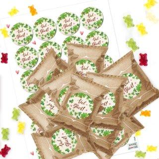 24 kleine Gummibärchen Tütchen Viel Glück - Give-away Glücksbringer Silvester