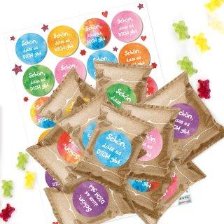 24 bunte Give-Aways Schön dass es dich gibt - Gummibärchen + Aufkleber als kleines Geschenk