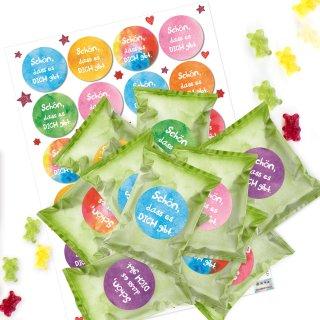 24 kleine Gummibärchen mit Sticker Schön, dass es dich gibt - Mini Geschenke bunt