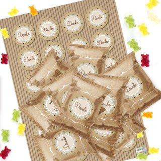 Mini Gummibärchen Tüten 24 kleine Beutel - Danke Geschenk für Gäste Kunden Freunde