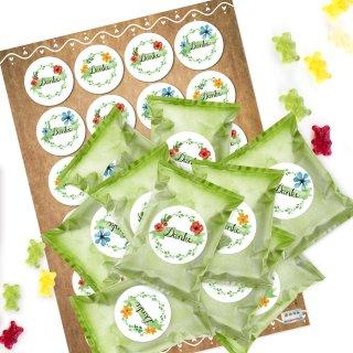 24 kleine Mini Geschenke zum Essen GUMMIBÄRCHEN mit Danke Stickern grün