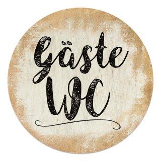 """Badezimmer Türschild gold """"Gäste WC"""" in (15,5 cm) mit Klebepads"""