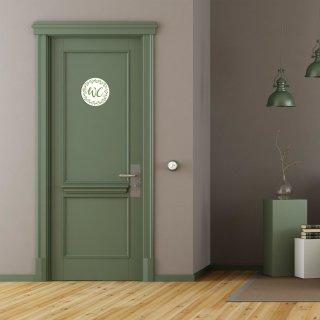 WC-Schilder Set WC + Damen + Herren - Toilettenschild Türschild grün floral für Damentoilette & Herrentoilette