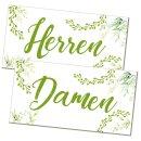 Badezimmer Türschild grün weiß floral Set...