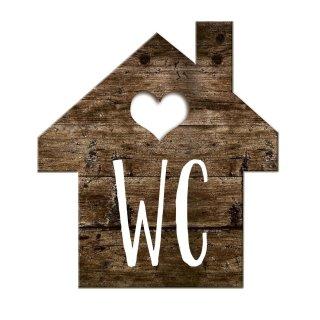 WC-Schild Holzoptik Häuschen mit Herz braun weiß 17 cm - WC-Häuschen