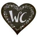 WC-Schild Toilettenschild Herz schwarz weiß - Türschild Toilette WC neutral Männer und Frauen Schild mit Klebepunkten
