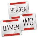 Set 3 WC-Schilder WC + Damen + Herren Toiletten-Schild Tür-Schild neutral rot grau Silber Büro Praxis Kanzlei