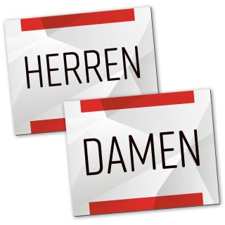 "Badezimmer Türschild neutral rot grau Set ""Damen"" + ""Herren"""