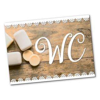 WC-Schild Toiletten-Schild Türschild Holz-Optik Vintage braun weiß rechteckig 14,8 x 10,5 cm inkl. Klebepunkte neutral