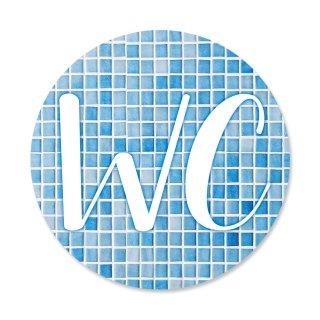 WC-Schild Toiletten-Schild Türschild blau weiß türkis Mosaik-Optik rund 15 cm Durchmesser inkl. Klebepunkte Badezimmer