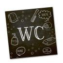 WC-Schild Toiletten-Schild schwarz weiß Tafelkreide-Look Türschild Badezimmer 14 x 14 cm inkl. Klebepunkte