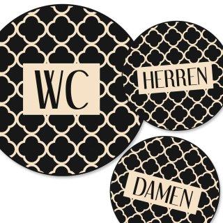 """Badezimmer Türschild beige schwarz Set """"Damen"""" + """"Herren"""" + """"WC"""" (15,5 cm) mit Klebepads"""