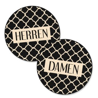 "Badezimmer Türschild beige schwarz Set ""Damen"" + ""Herren"" in Tafelkreide-Optik (15,5 cm) mit Klebepads"