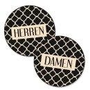 WC-Schilder Set Damen + Herren schwarz beige 15,5 cm...