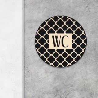 Neutrales WC-Schild beige schwarz - Toilettenschild universal mit Muster - 15,5 cm inkl. Klebepunkten