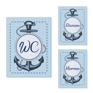 Maritimes WC-Schilder Set WC + Damen + Herren Toilettenschilder blau weiß mit Anker-Motiv