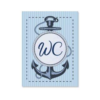 Maritimes WC-Schild neutral mit Text WC - Toilettenschild blau weiß mit Schiffsanker - Türschild inkl. Klebepunkten