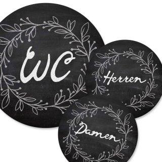 WC-Schilder Set im Tafelkreide-Look schwarz weiß WC + Damen + Herren 15,5 cm - Türschild Toilette