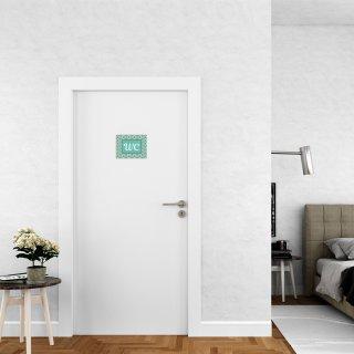 Toilettenschild neutral WC türkis weiß im Vintage-Look 15 x 11 cm - WC-Schilder mit Klebepunkten
