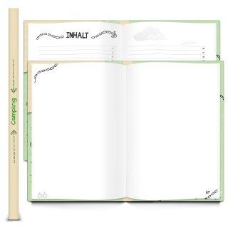 XXL Campingbuch DIN A4 - Reisebuch für Camper - Camping Tagebuch mit Metallecken